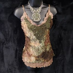 Tie Dye Green and Brown Lace Cami